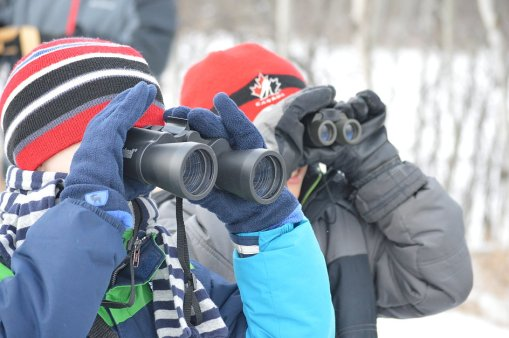 Two junior birders, photo courtesty of Shannon O'Connor, The Vermilion Voice.